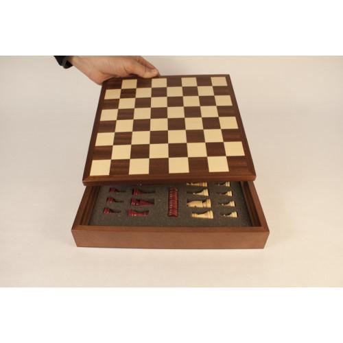 Caja de sapelli con fichas inglés 1   FI-1 con tablero 25/220/11 mm Contiene fichas damas